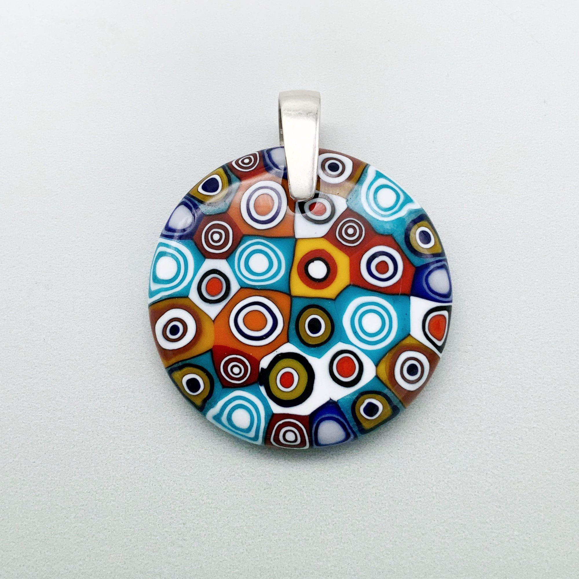 Fused opaque multicolour millefiori circles 35mm glass pendant
