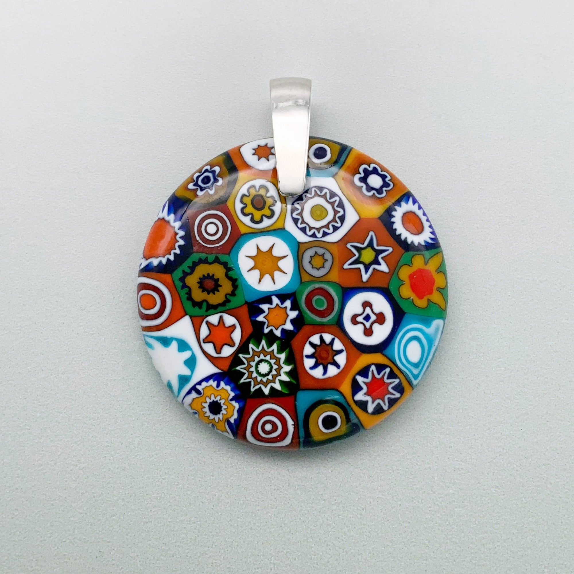 Fused millefiori glass pendant 35mm round with opaque circles, multicolour