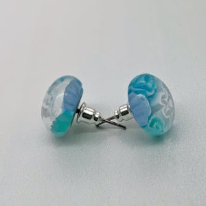 Cascade aqua glass stud earrings