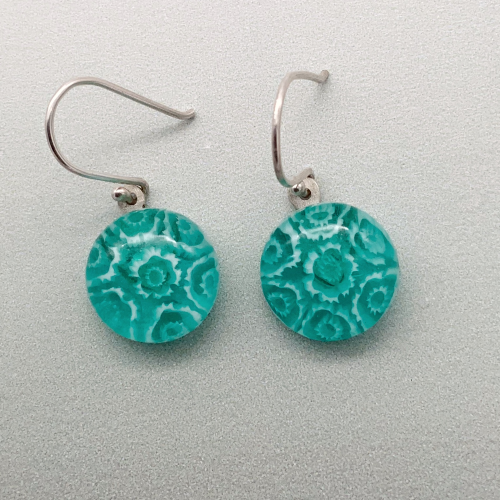 Fused aqua glass fleurette dangle earrings