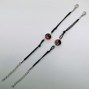 Black rope bracelets with beautiful glass centers