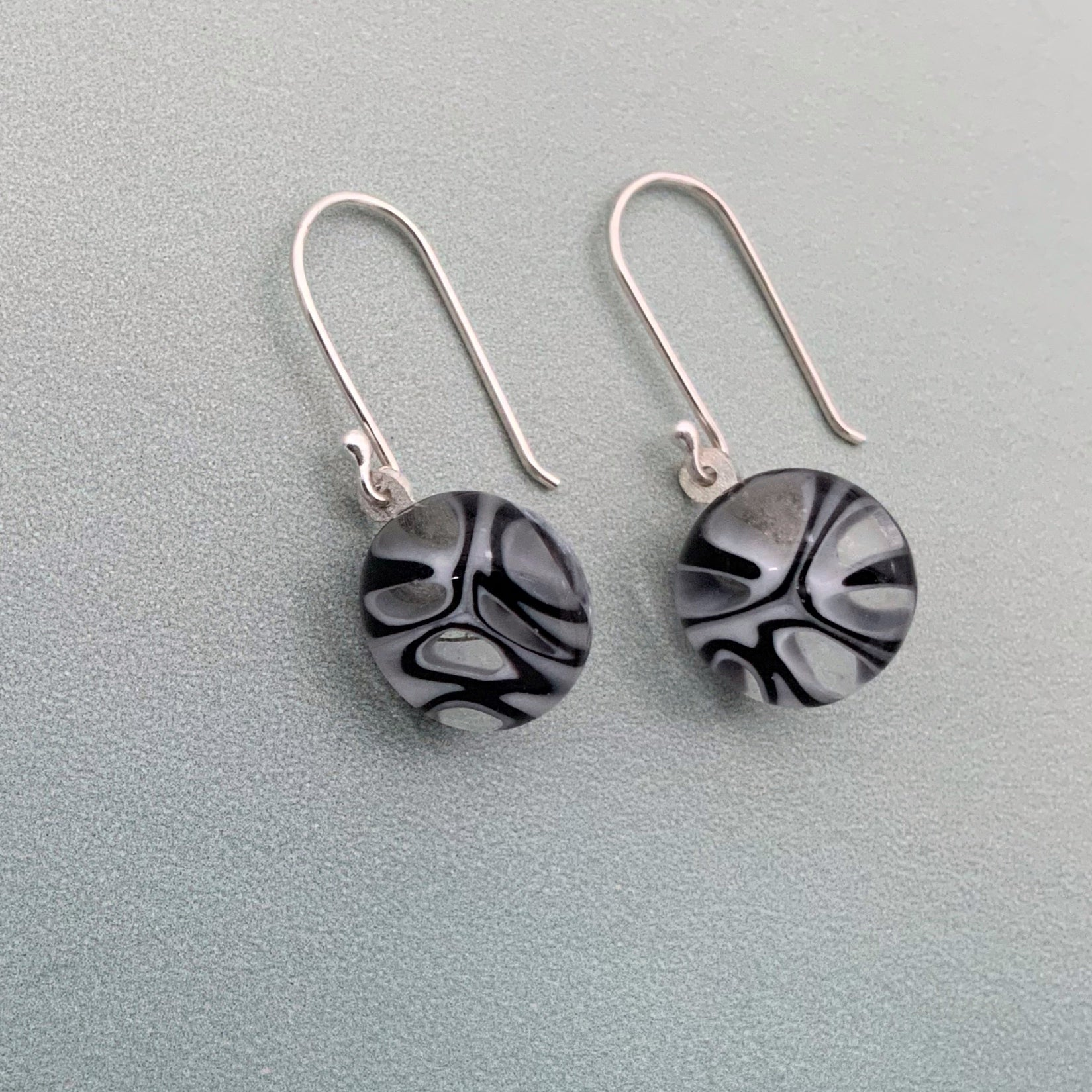 Murrini black and white glass dangle earrings