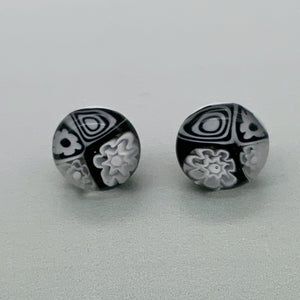Black and white glass stud earrings