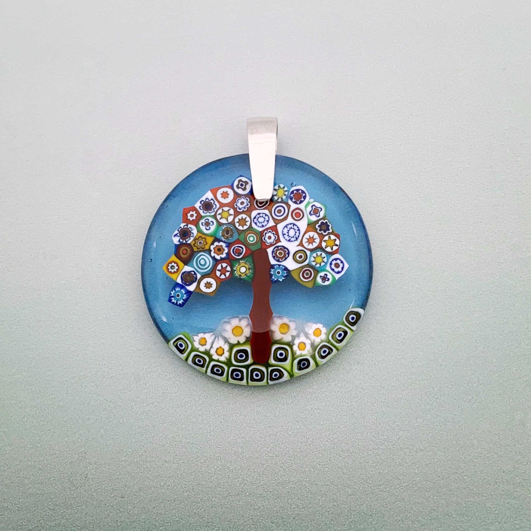 Fused blossom tree 35mm round glass pendant