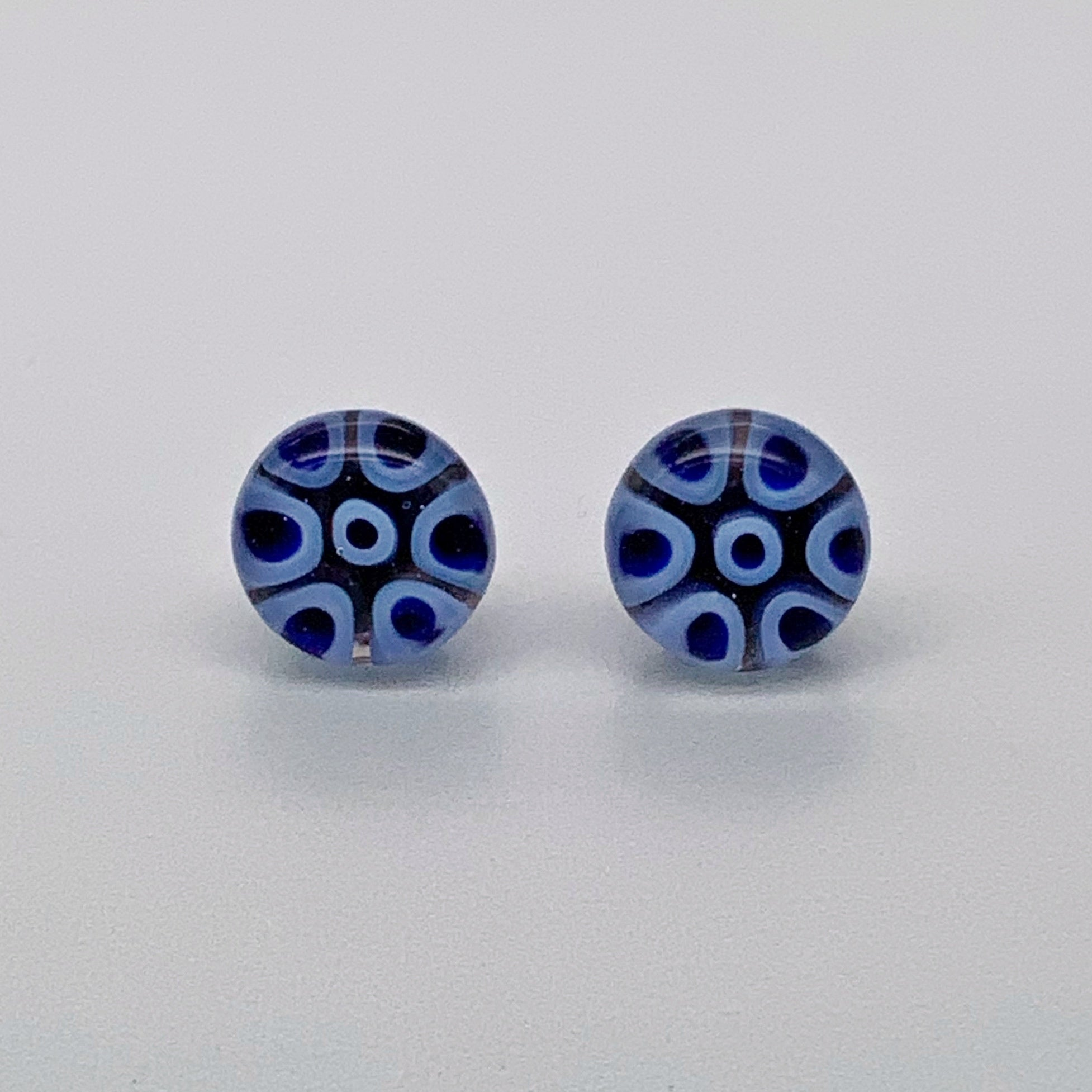 Fused murrini stud earrings in blue caviar