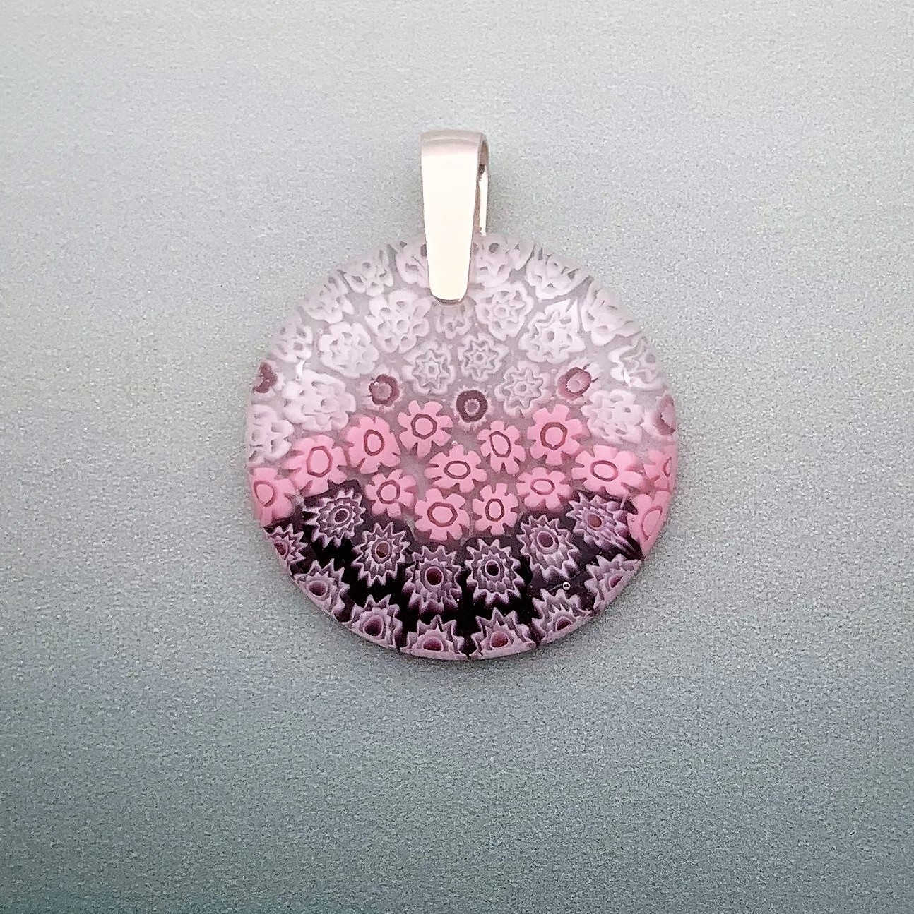 Fused Millefiori glass 35mm round pendant in rose cascade fleurette