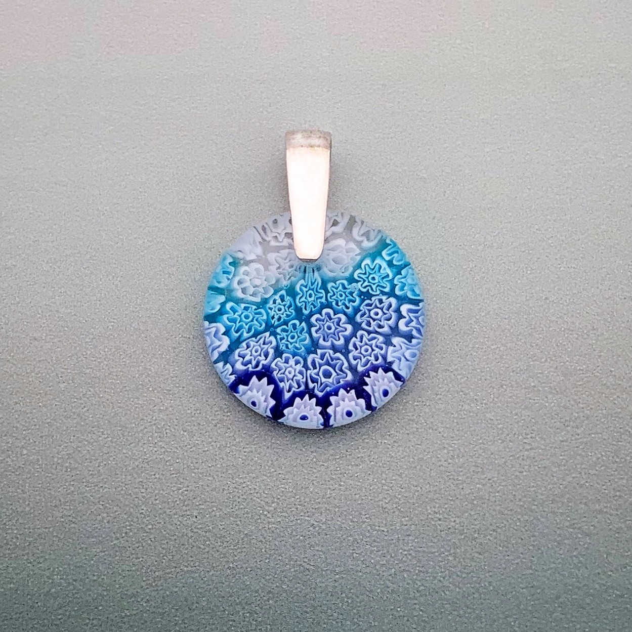 Fused Millefiori glass 25mm round pendant in sky cascade fleurette