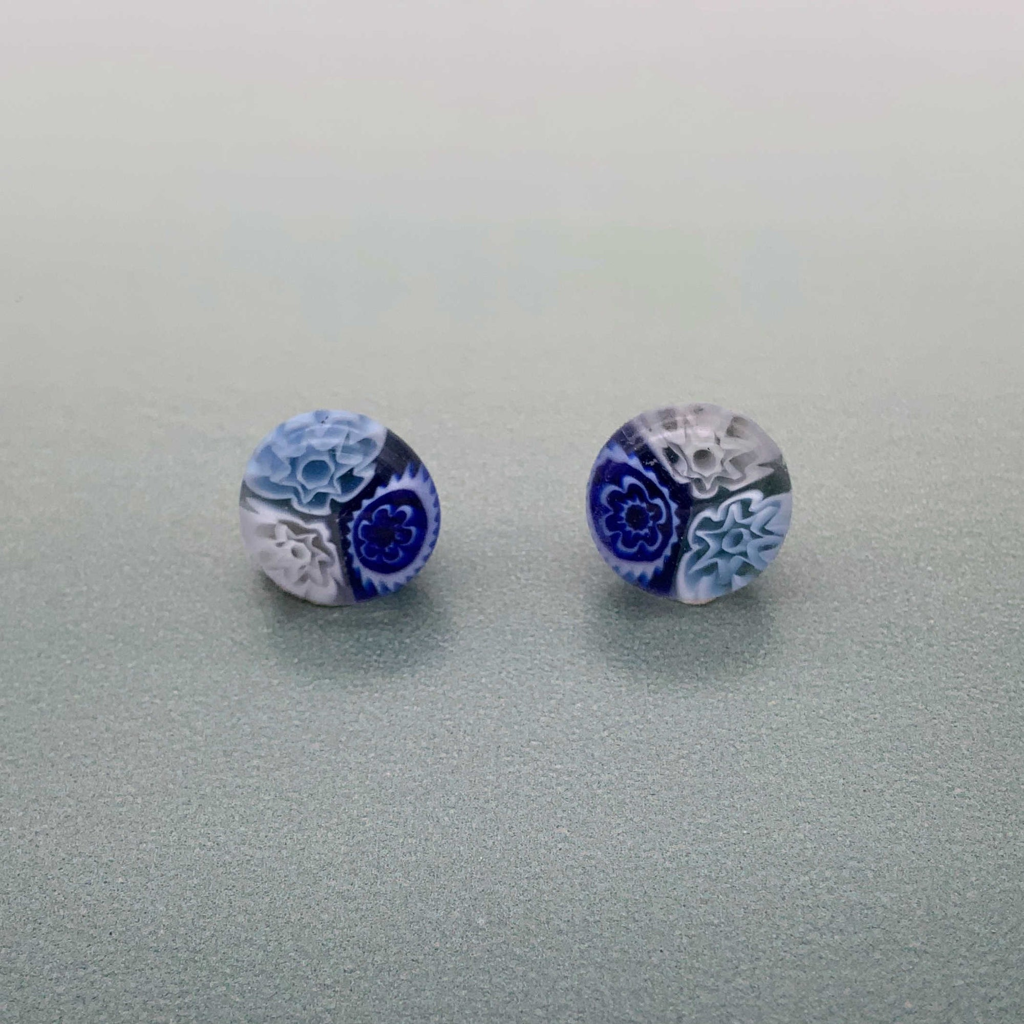 Cascade sky glass stud earrings