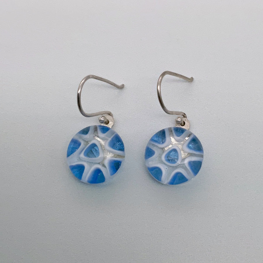 Contemporary periwinkle glass dangle earrings