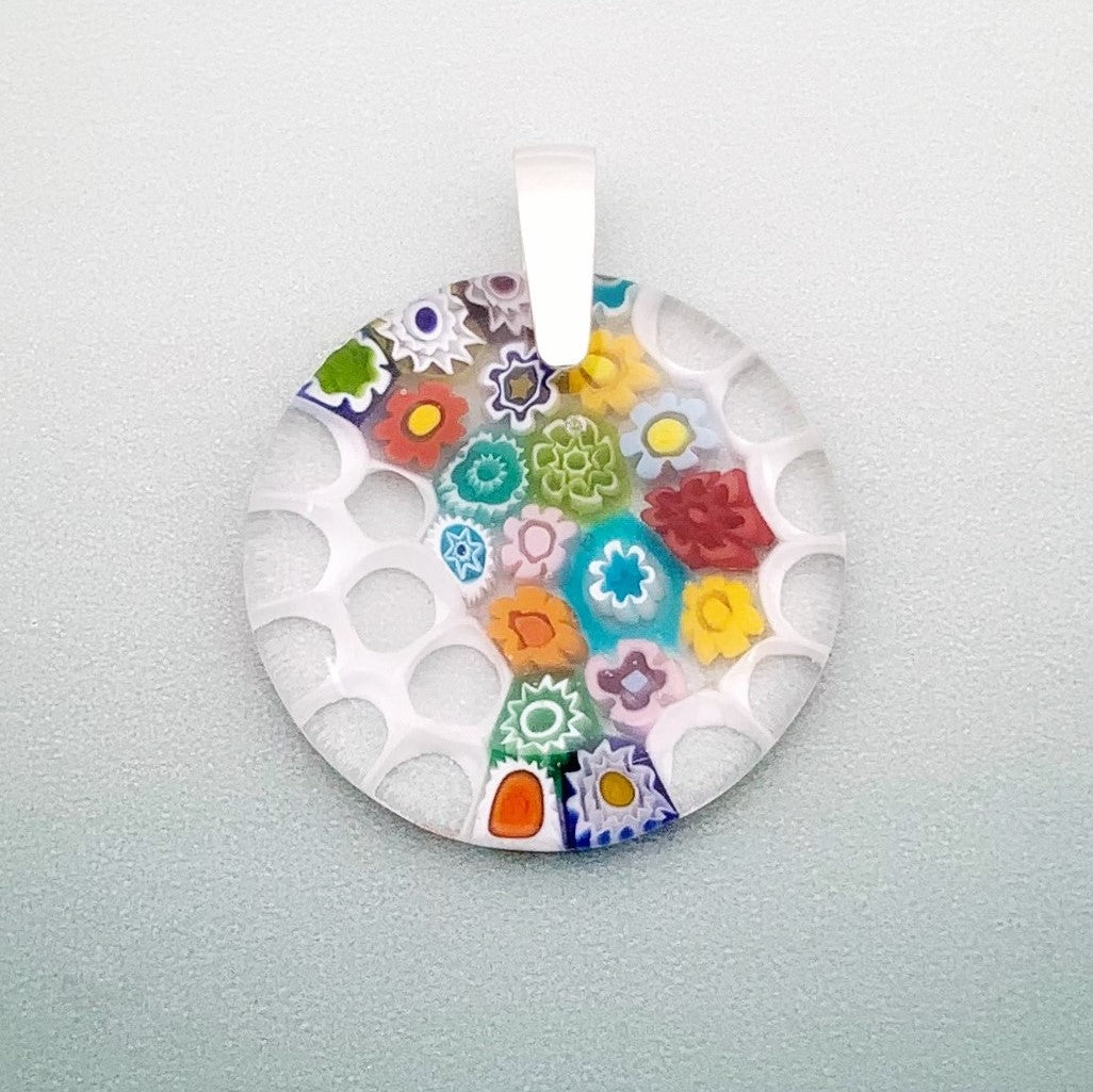 Fused millefiori glass 35mm round contemporary pendant