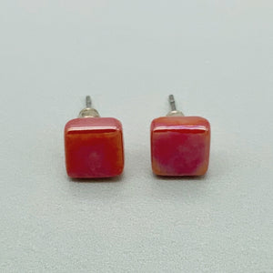 Square spot studs in coral glass