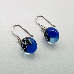 Navy and marmo glass dangle earrings