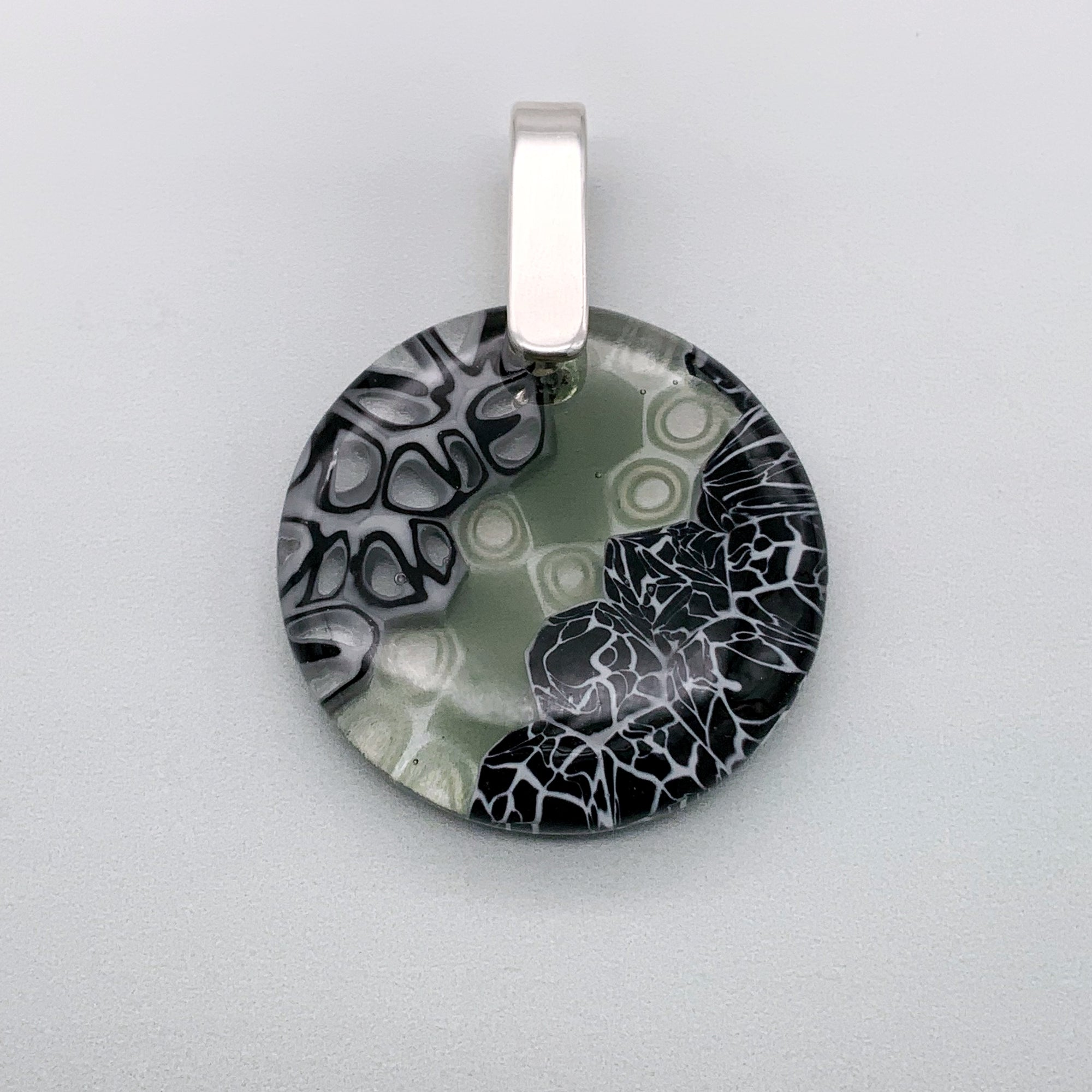 Designer Murrini 35mm round glass pendant in black and grey