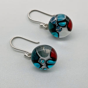 Designer Murrini turquoise, red and black glass dangle earrings