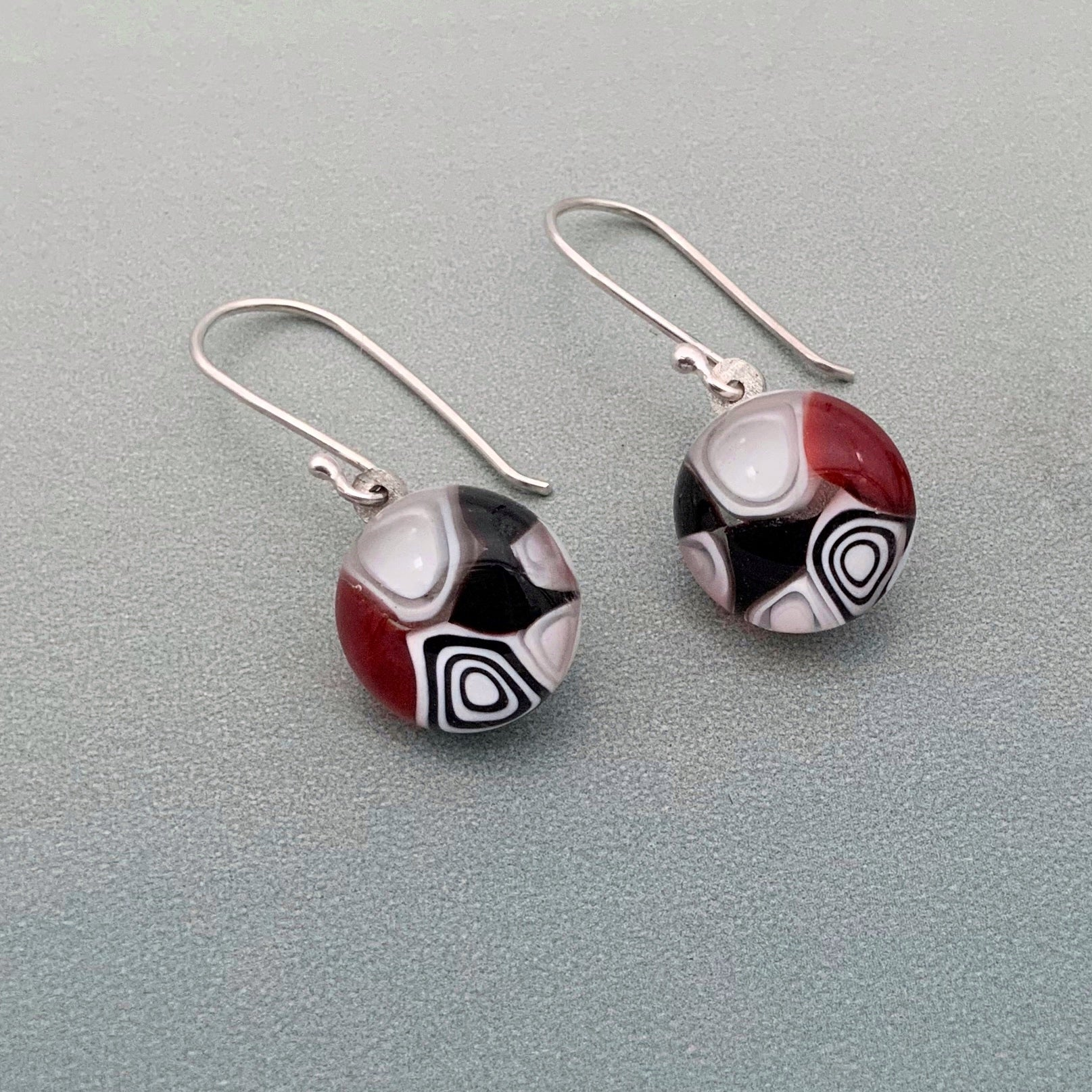 Designer Murrini red, black and white glass dangle earrings