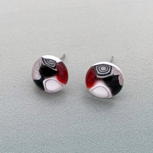 Designer Murrini red, black and white glass stud earrings
