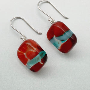 Designer Murrini blue and red square glass dangle earrings