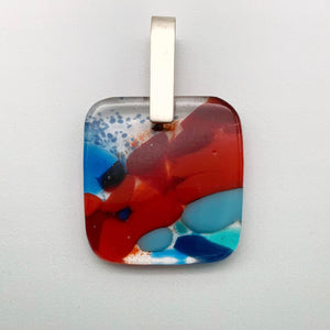 Designer Murrini fused glass square pendant with a short silver pinch bail
