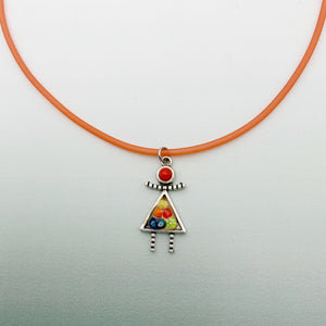 Dolly Pendant on colour necklace