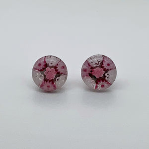 Fused dark pink and white fleurette studs