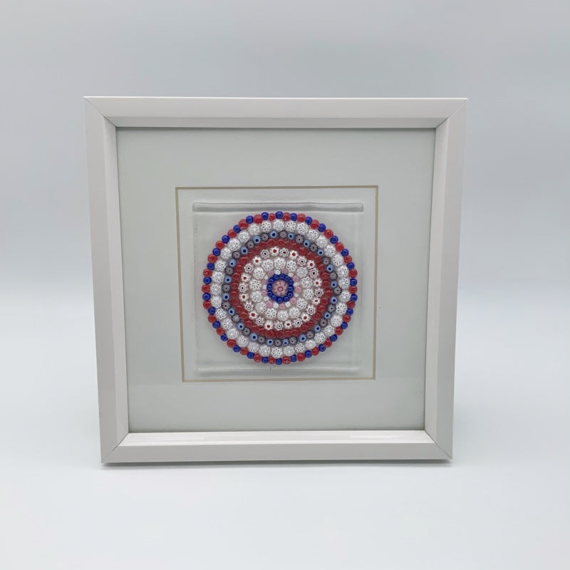 Red mandala glass frame