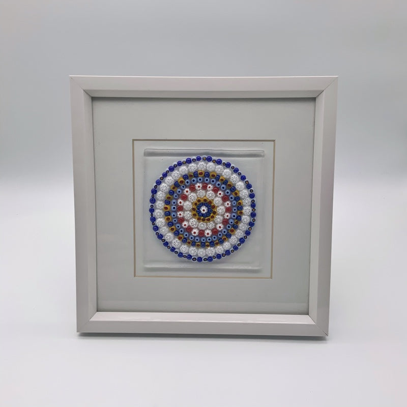 Blue mandala glass frame