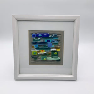 Blue and green glass frame