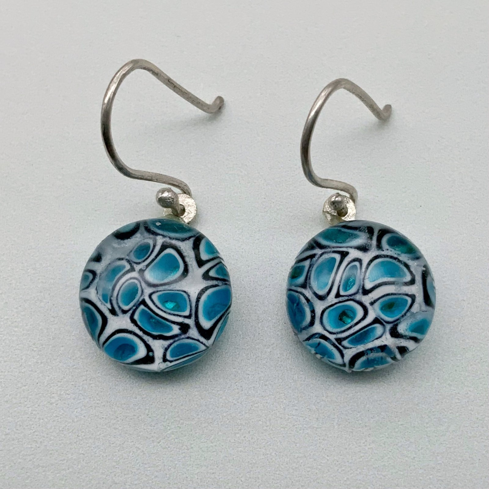 HiveLine glass dangle earrings  - Black & white around Turquoise