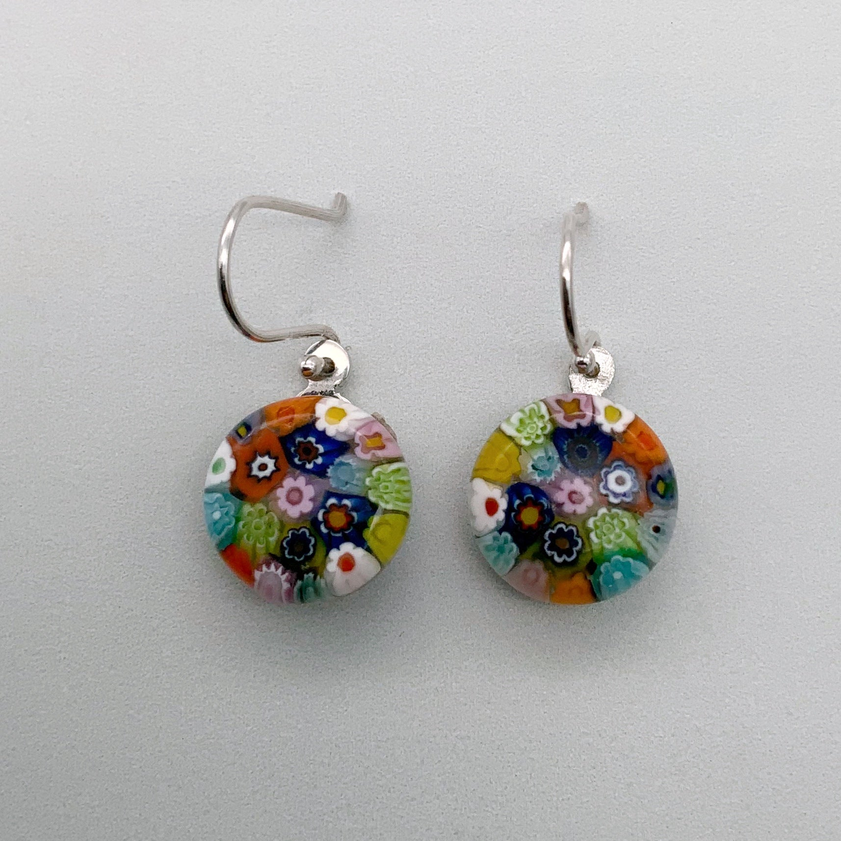 Millefiori glass rainbow dangles - reversed flowers