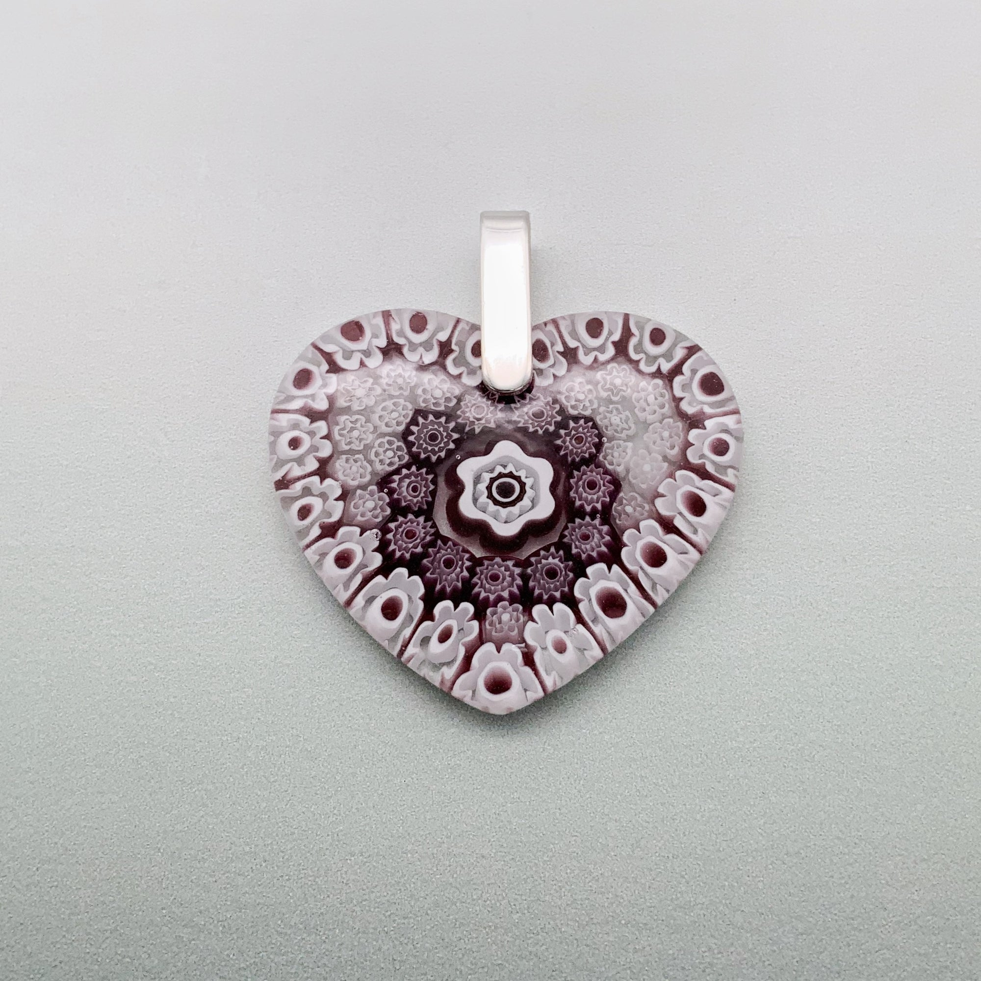 Fused Millefiori glass heart in pink & purple - large