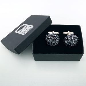 Black and white round glass cufflinks