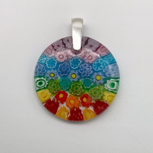 Multi Millefiori 35mm round glass pendant in Rainbow cascades