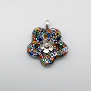 Multi colour flower glass pendant