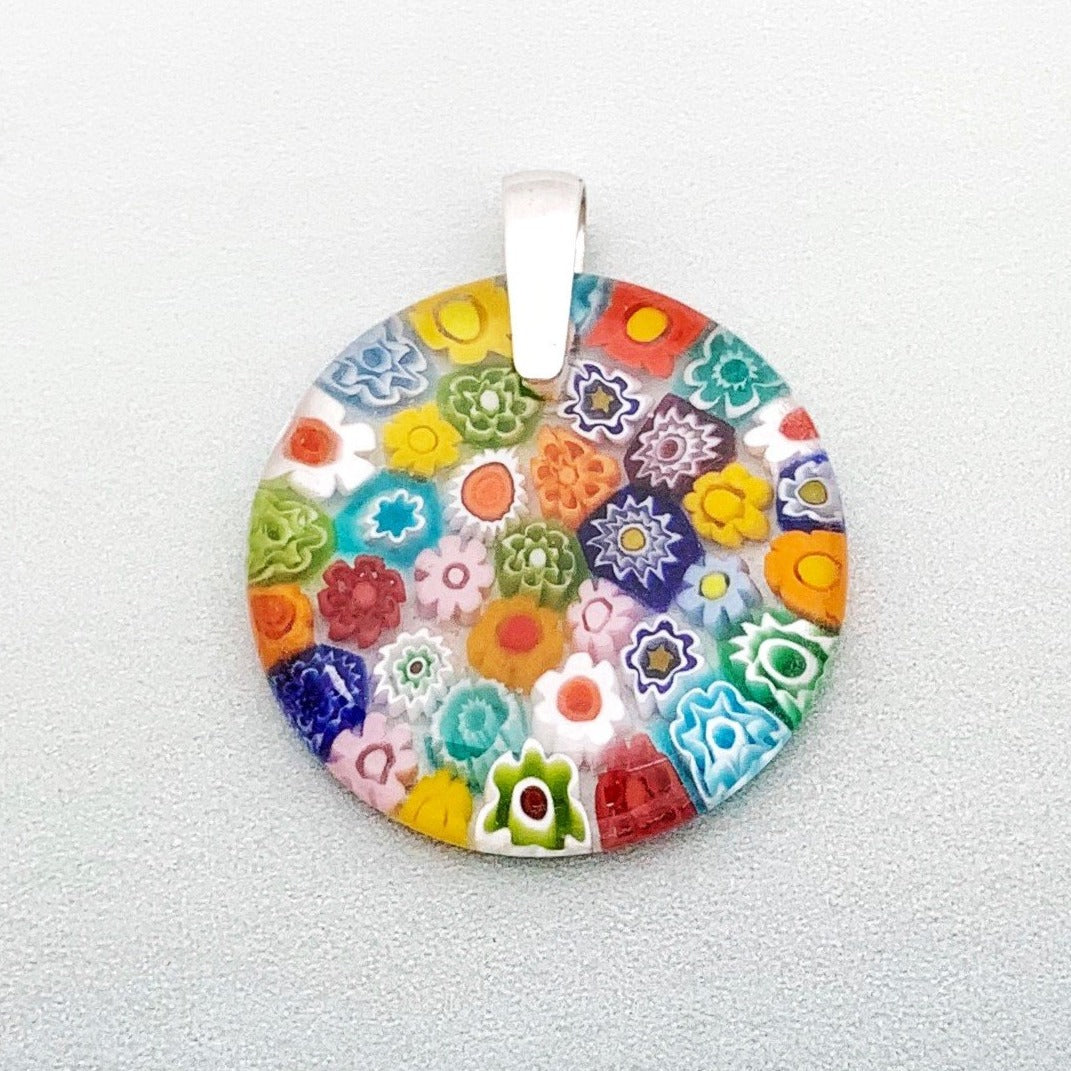 Fused rainbow millefiori glass pendant 35mm