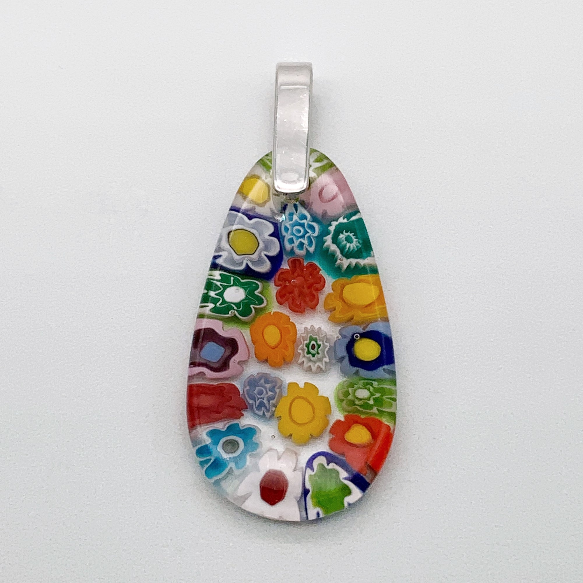 Multi Millefiori rainbow drop glass pendant