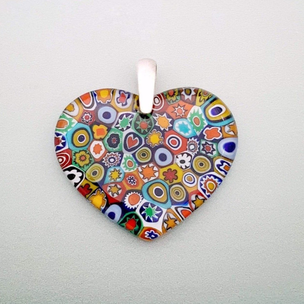Fused multi color millefiori glass heart pendant - large