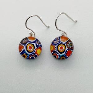 Multi Millefiori blue dangle earrings