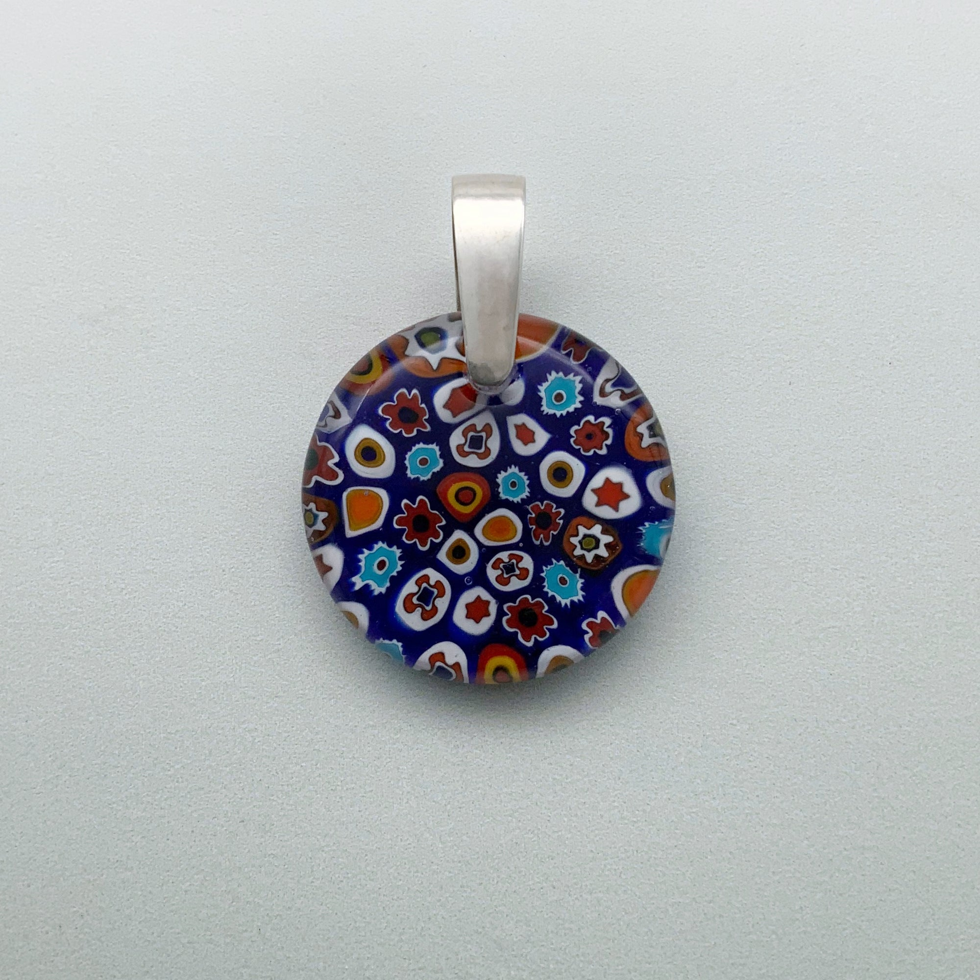 Multi Millefiori 25mm dark blue glass pendant