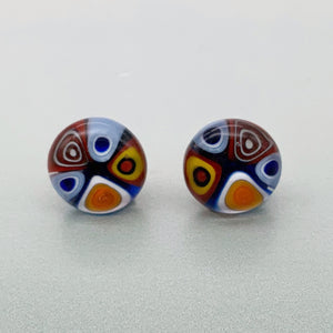 Fused opaque multicolour glass stud earrings