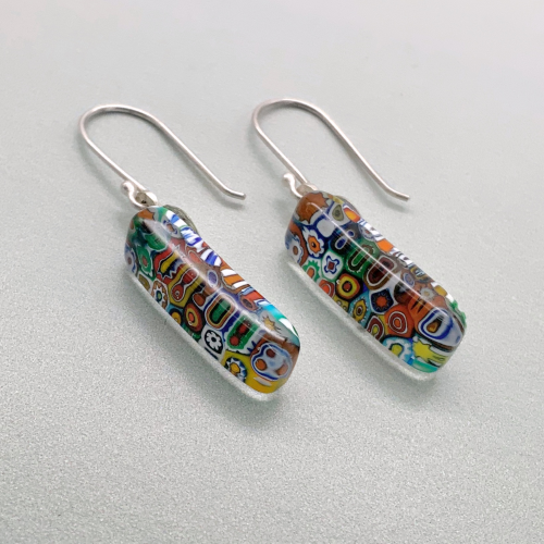 Fused multi millefiori opaque long glass dangles