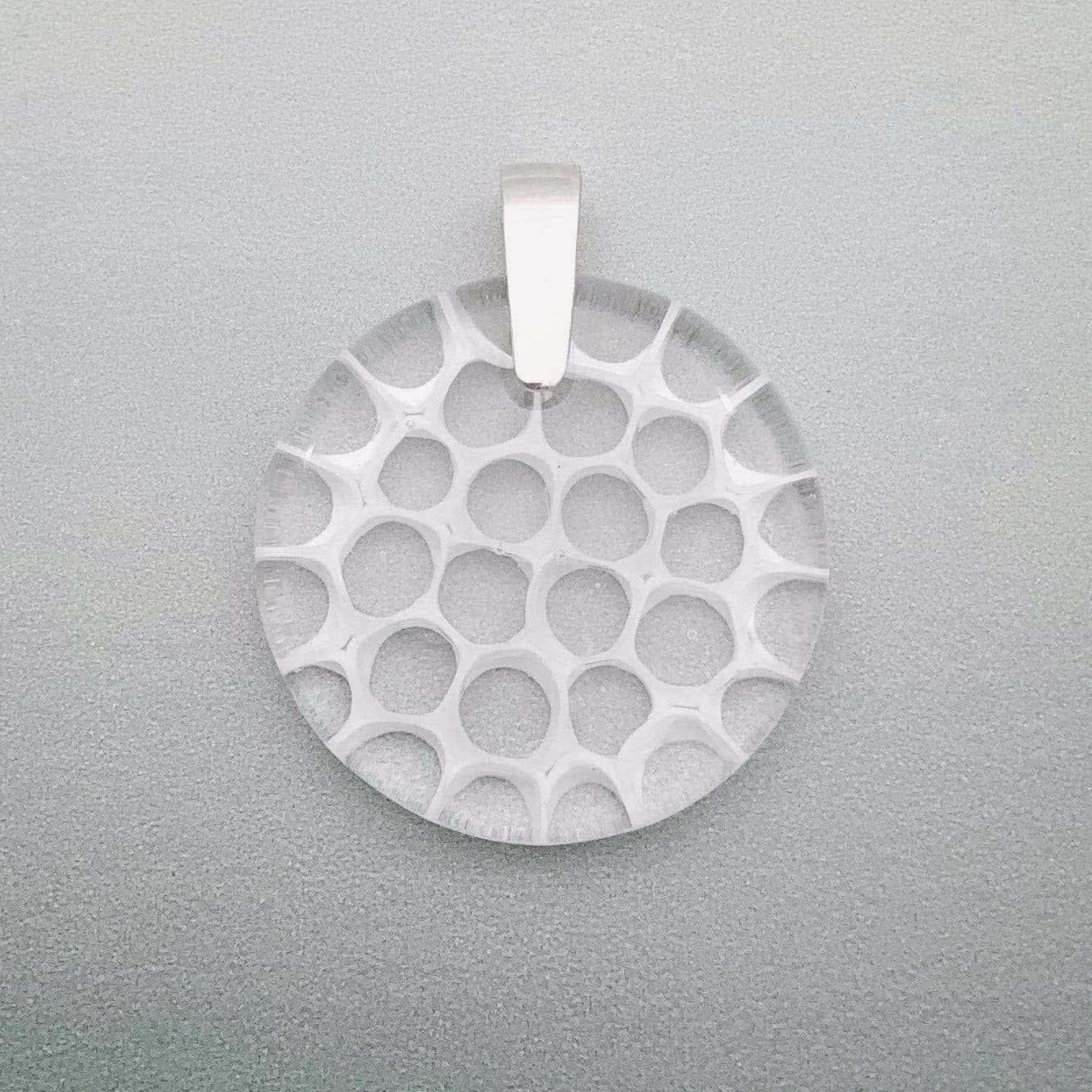 Fused murrini glass 35mm pendant in white & transparent cells