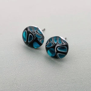 Murrini turquoise and black glass stud earrings