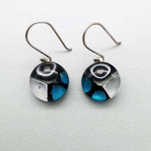 Murrini glass white, turquoise and black glass dangle earrings
