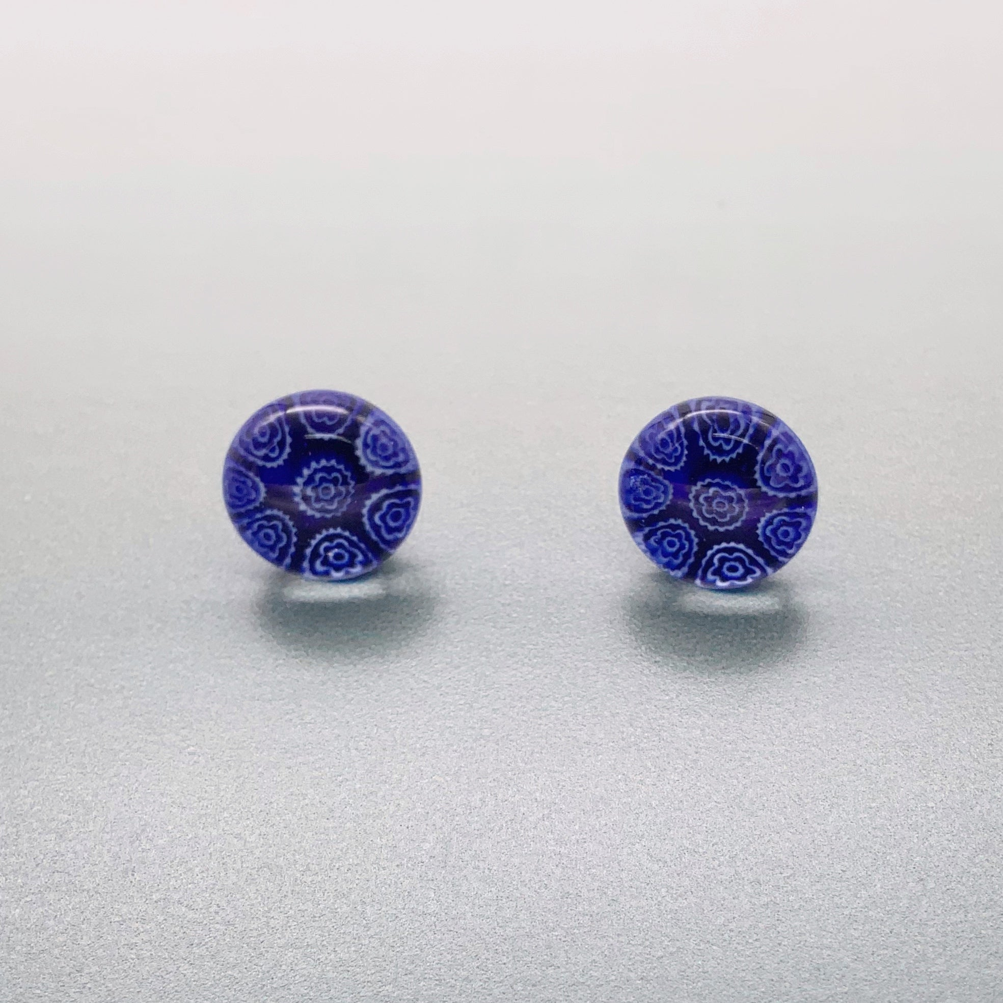 Fused navy glass fluerette stud earrings