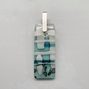 Nougat pale blue rectangle glass pendant