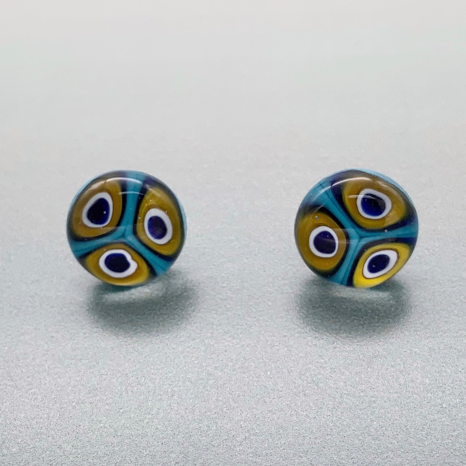 Peacock inspired glass stud earrings