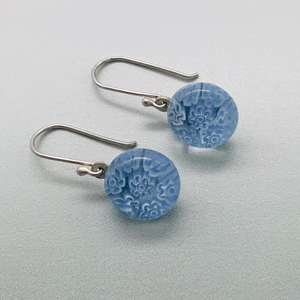 Fused periwinkle glass fleurette dangle earrings