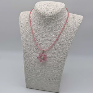 Pink flower glass pendant
