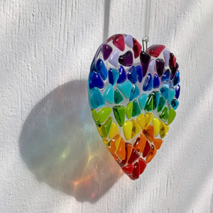 Rainbow glass heart suncatcher