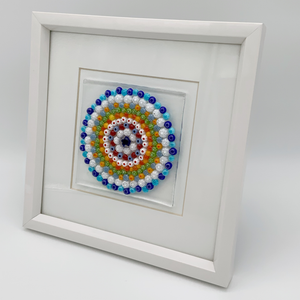 Rainbow mandala glass frame
